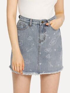 Frayed Hem Graffiti Denim Skirt