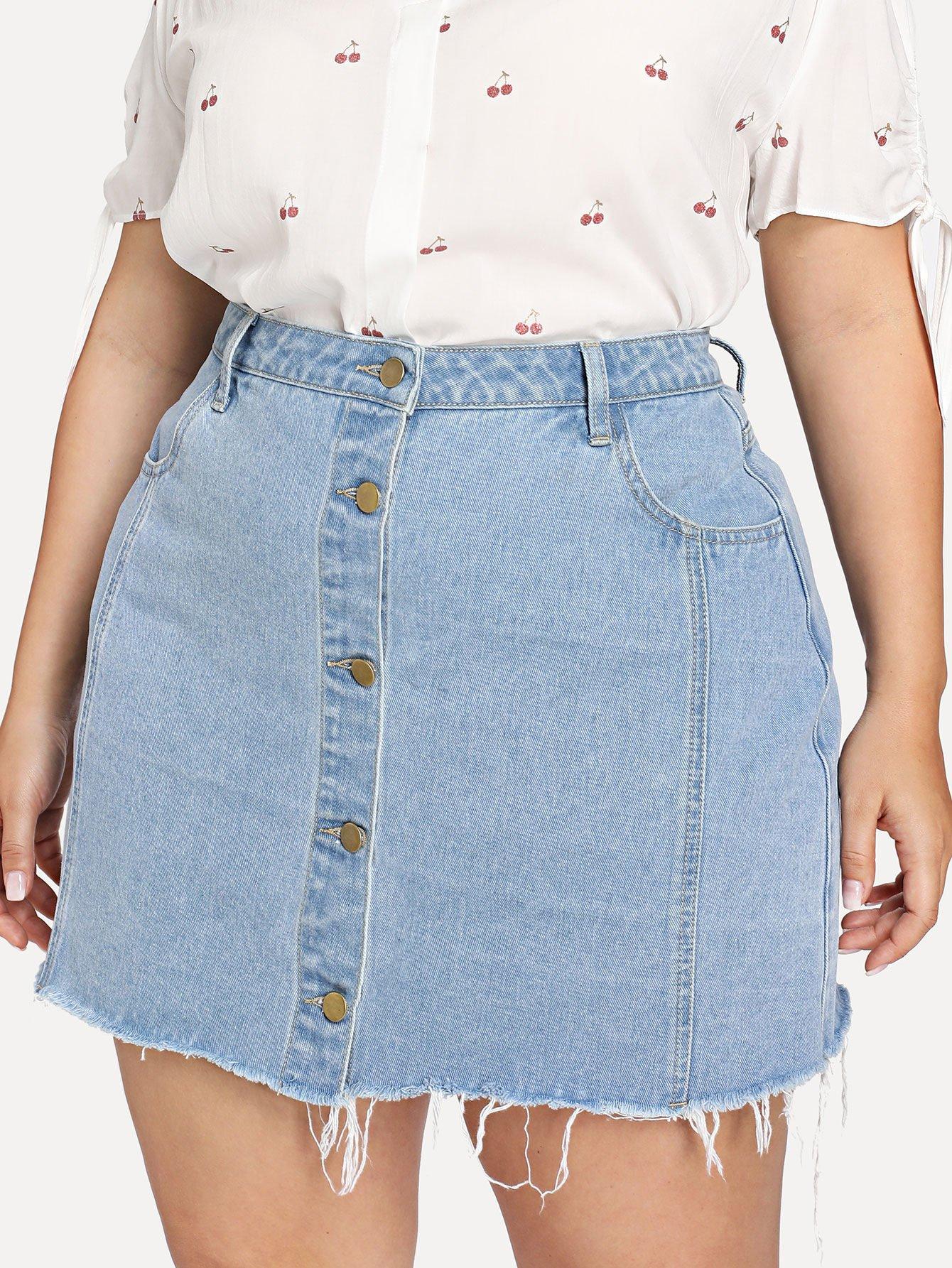 Raw Hem Button Through Denim Skirt a line button through denim skirt