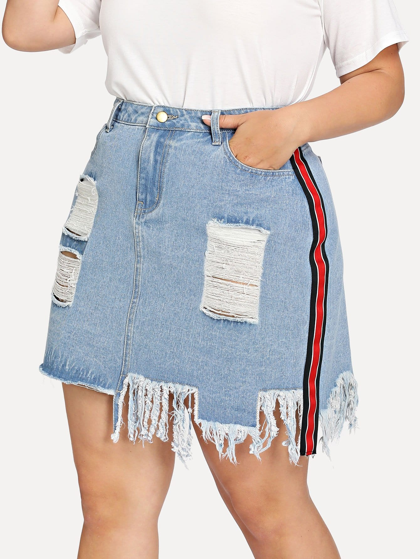 Striped Tape Side Distressed Denim Skirt striped tape side legging shorts