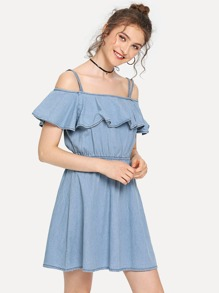 Elastic Waist Strappy Denim Dress