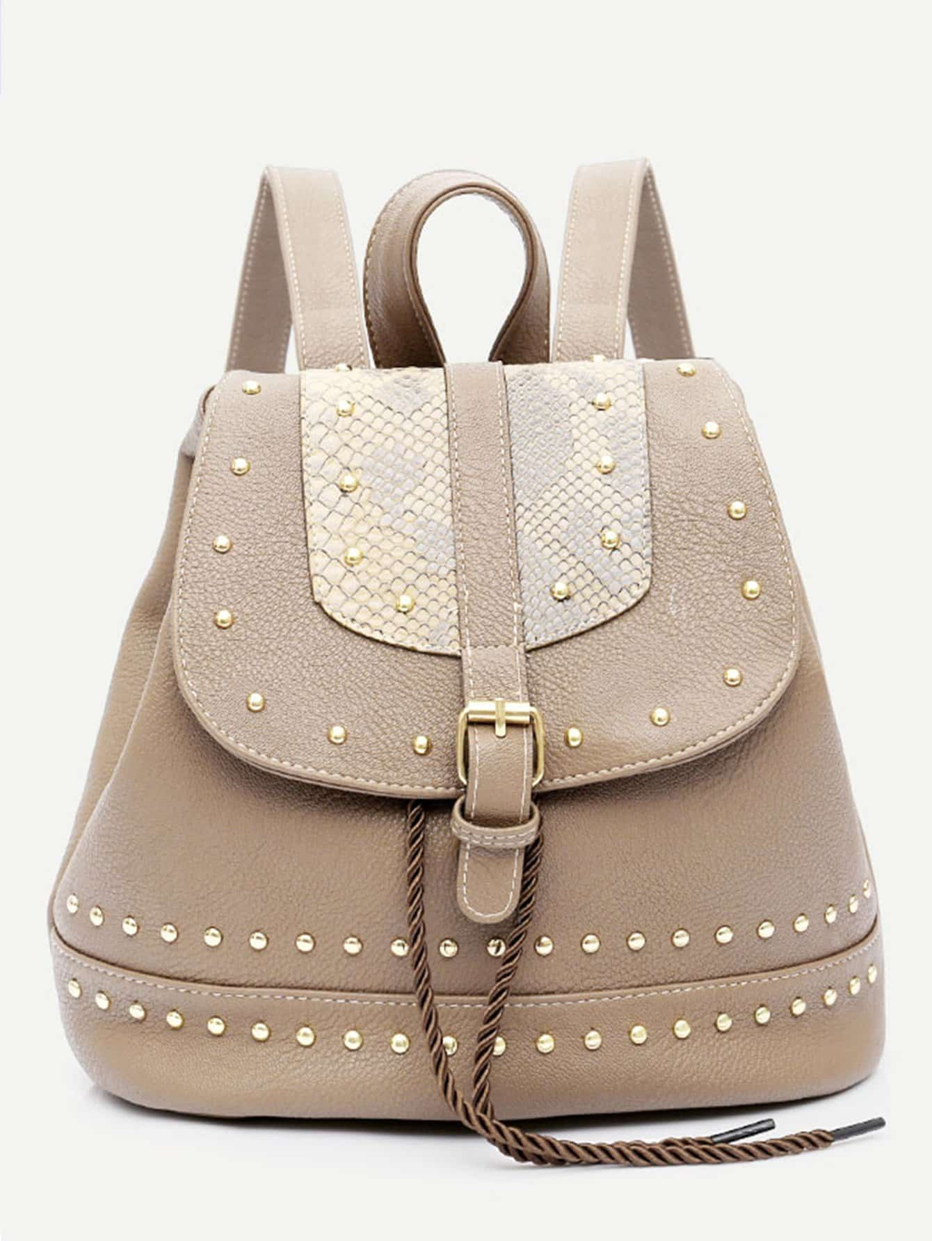 Buckle Detail Studded Backpack studded detail buckle decor chain bag