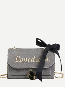 Bow Tie Letter Embroidered Chain Bag