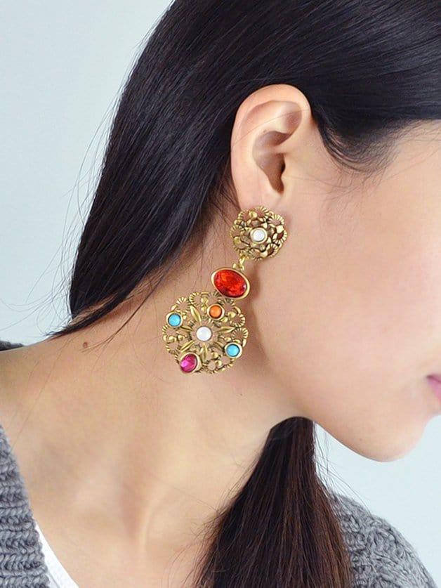 Rhinestone Hollow Out Flower Earrings