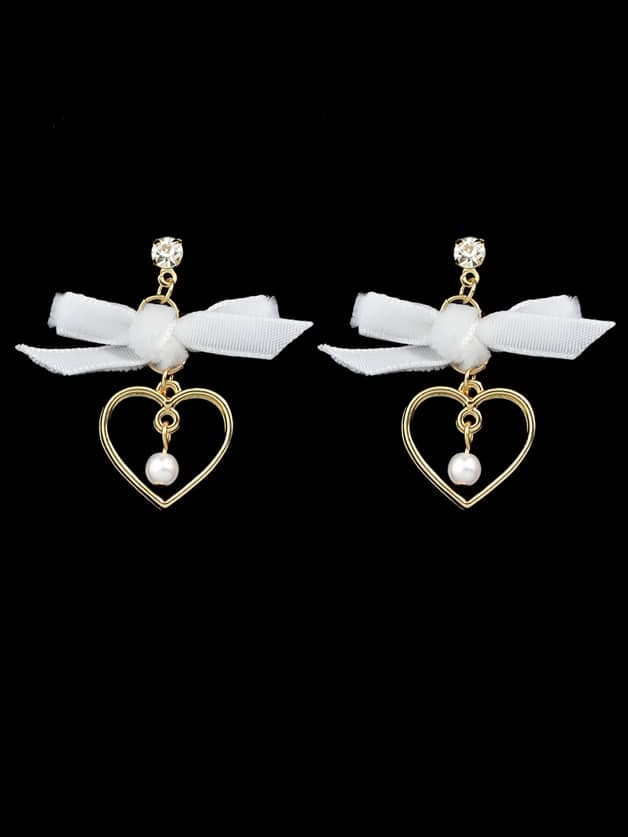 White Bowknot Heart Shape Earrings