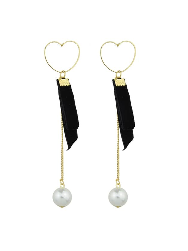 Black Heart Shape Long Chain Earrings