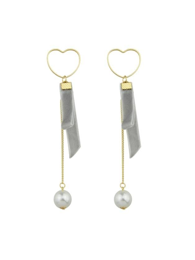 Grey Heart Shape Long Chain Earrings