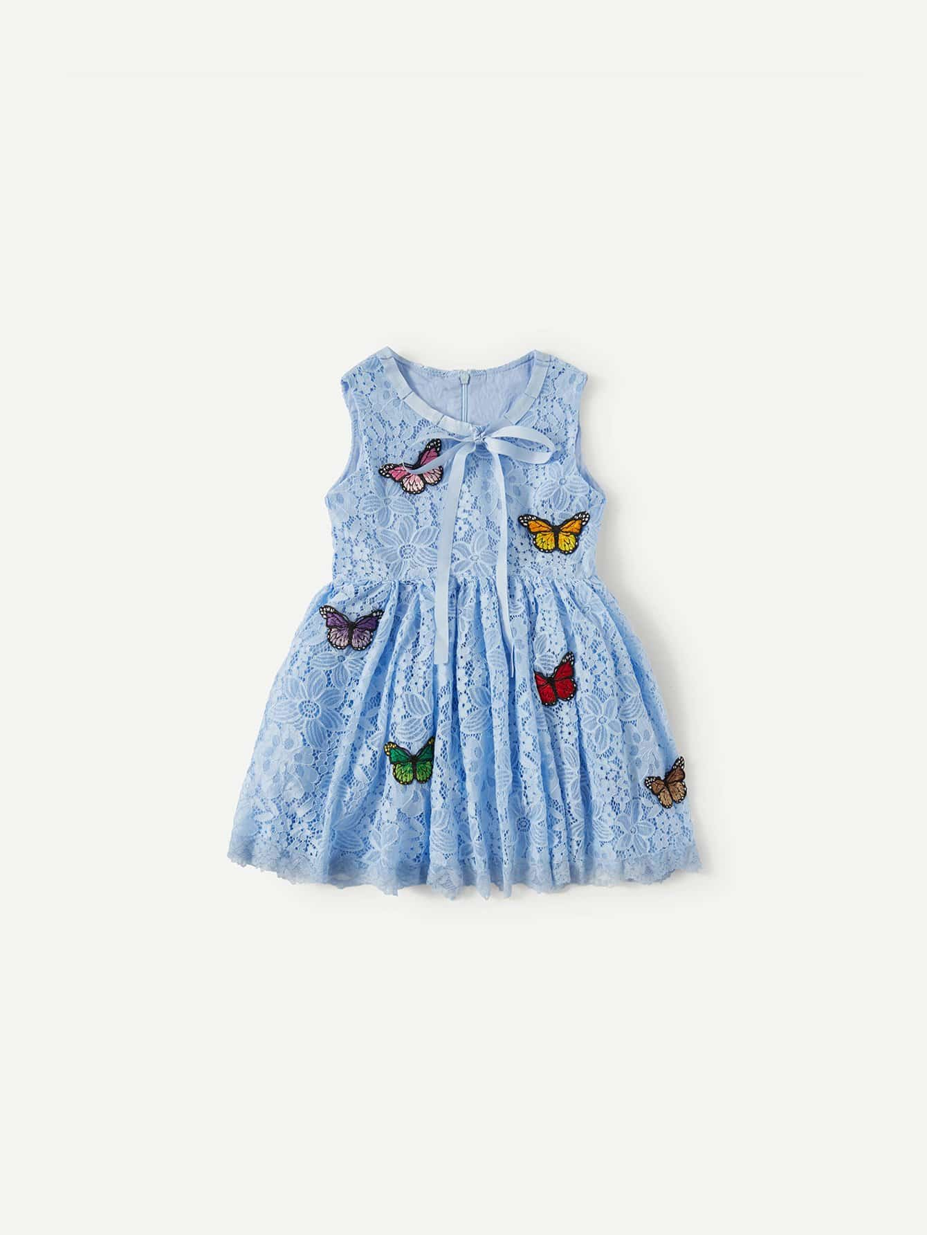 Girls Butterfly Embroidered Patches Lace Dress