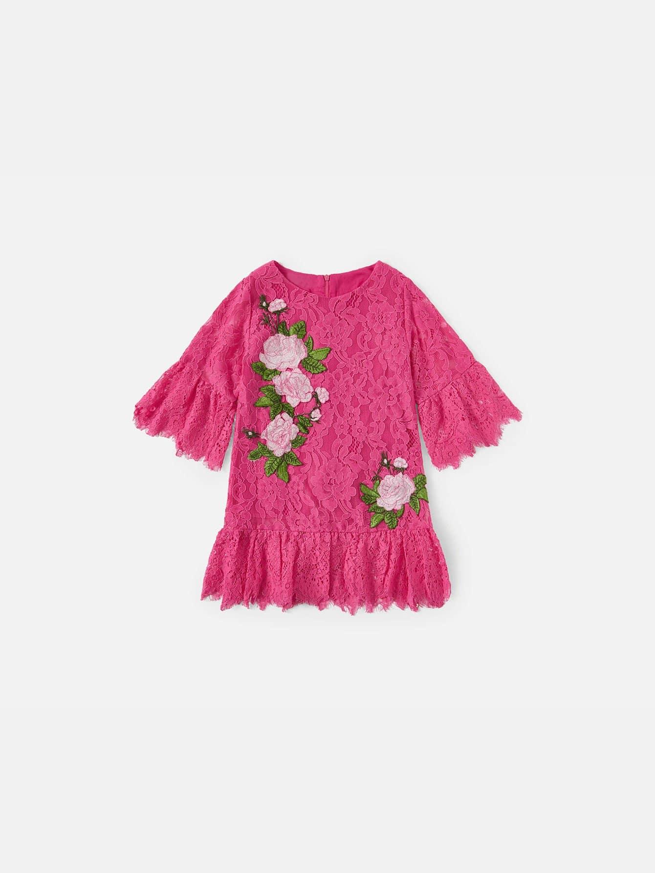 Купить Платье кружева с аппликацией для детей, null, SheIn
