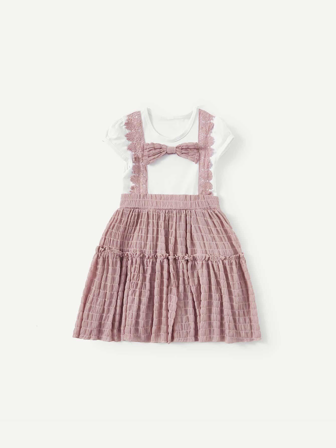 Girls Bow Detail 2 In 1 Dress
