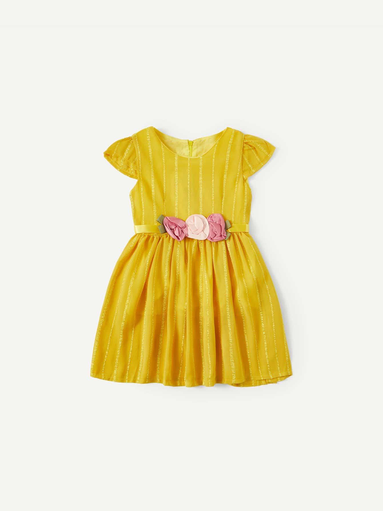Цветок Девочки Деталь Полосатый Платье