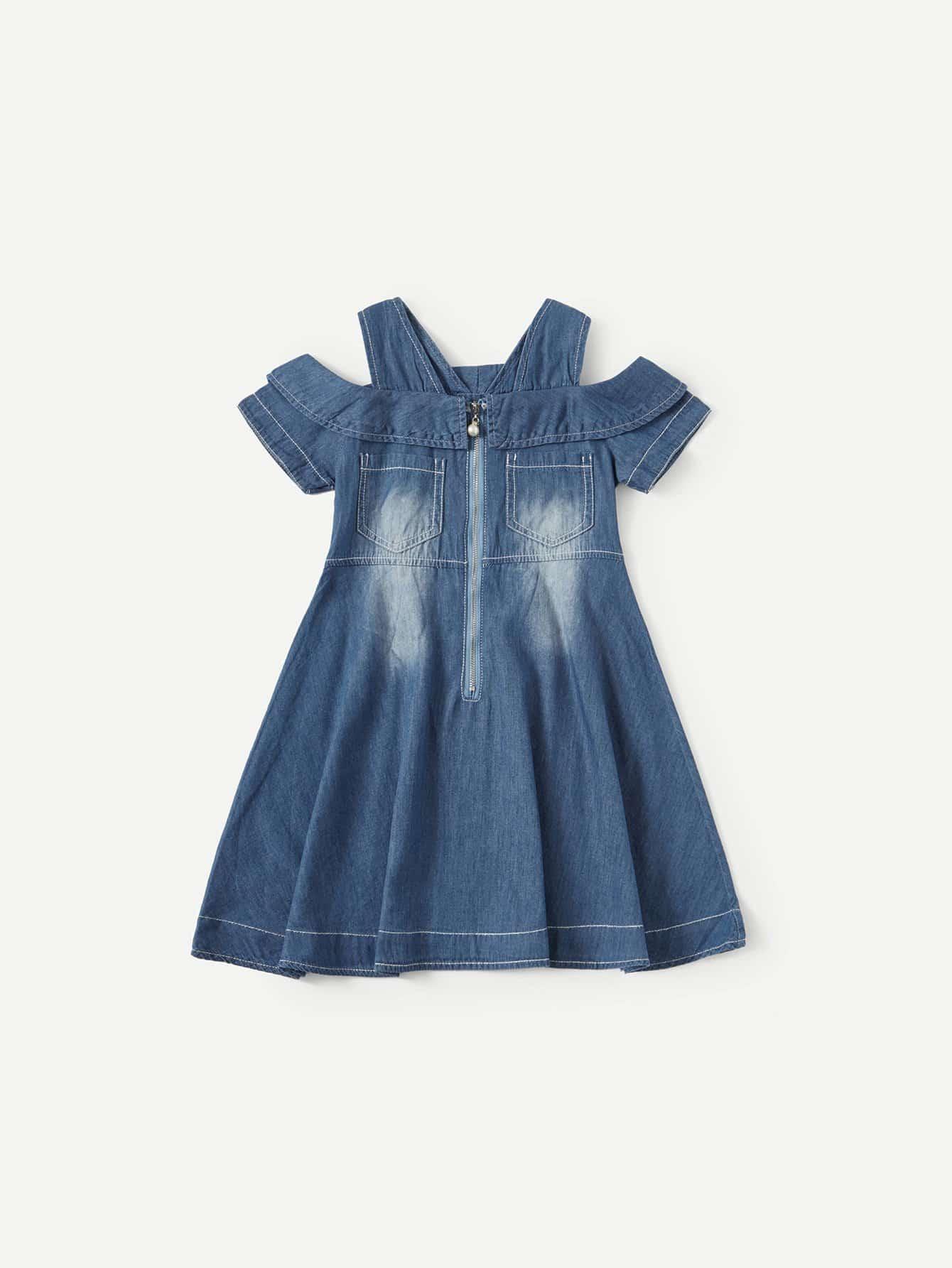 Девочки С Открытыми Плечами С Рюшами Denim Платье