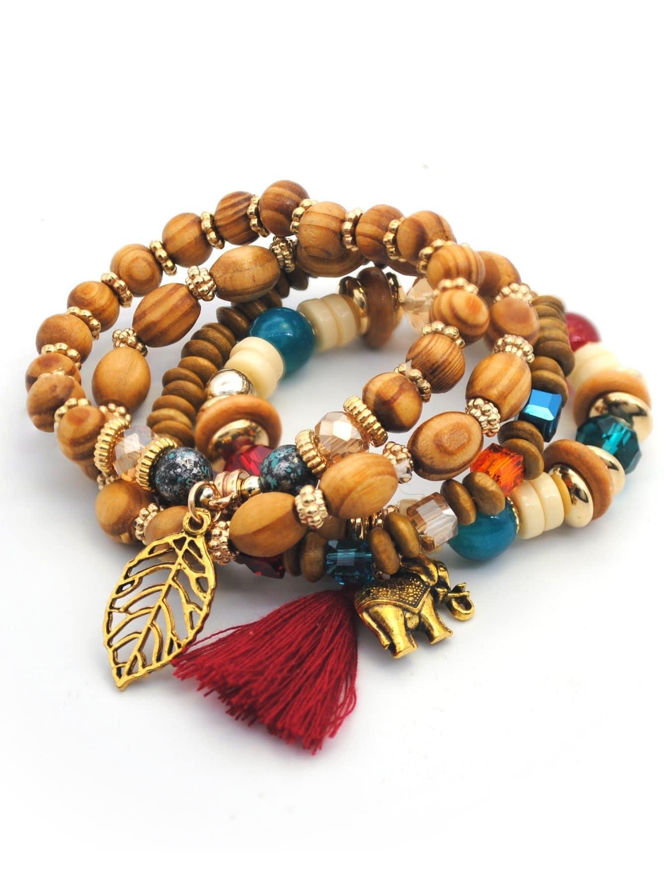 Beads Armband Set mit ausgehöhltem Blatt 4pcs