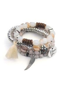 Wing & Tassel Detail Beaded Bracelet Set 4pcs