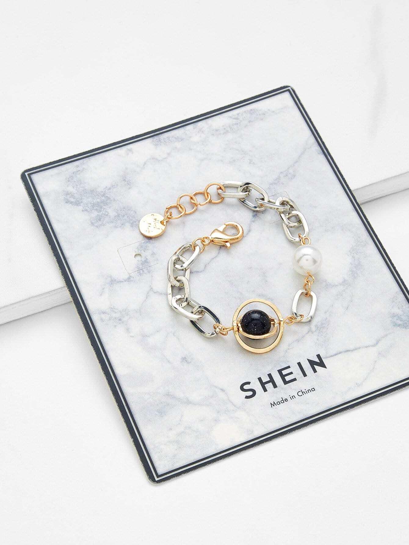 Faux Pearl Chain Bracelet vintage faux pearl chain bracelet for women