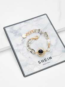 Faux Pearl Chain Bracelet