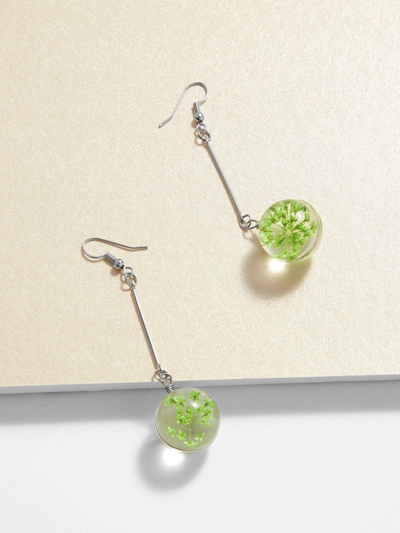 Glass Ball & Bar Design Drop Earrings silver plated bar dangle drop earrings