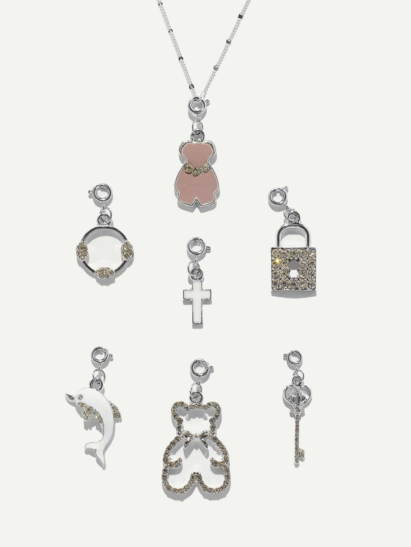 Купить Lock & Bear Detail Съемное ожерелье 7шт., null, SheIn