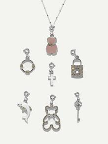 Lock & Bear Detail Detachable Pendant Necklace 7pcs