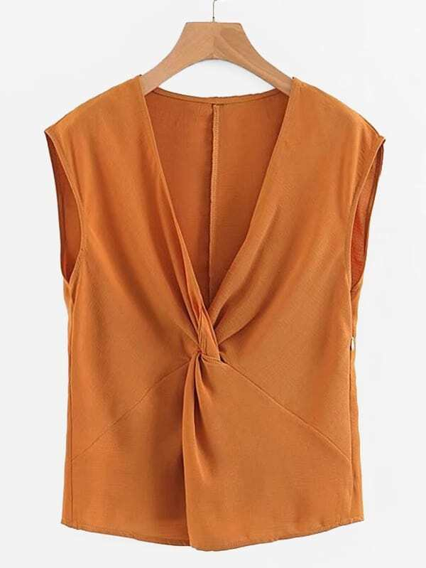 Twist Front Solid Blouse by Sheinside