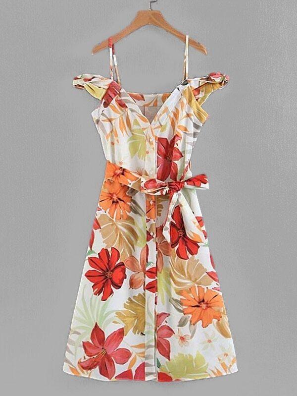 All Over Florals Self Tie Dress all over florals dip hem shirt