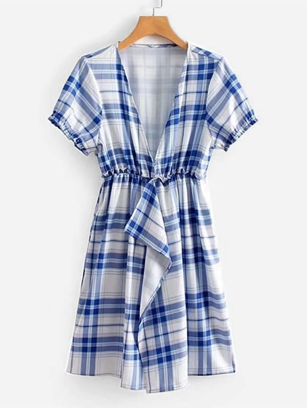 V Neckline Tartan Plaid Dress