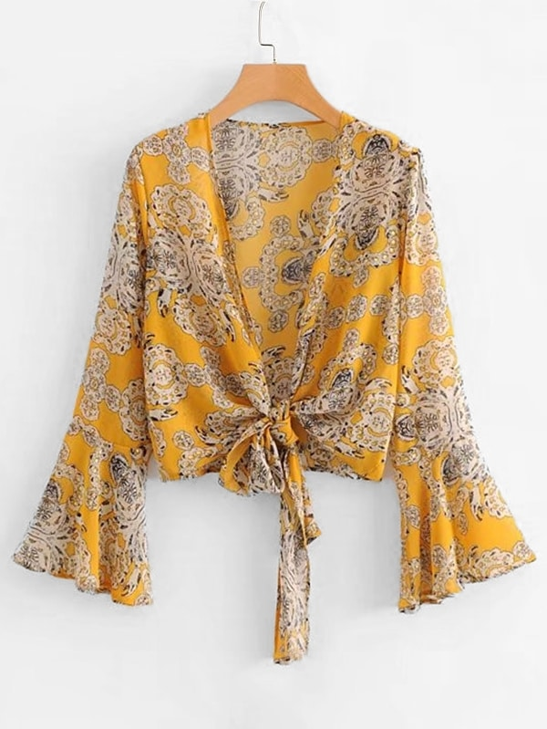 All Over Florals Ruffle Sleeve Chiffon Kimono all over florals ruffle hem top