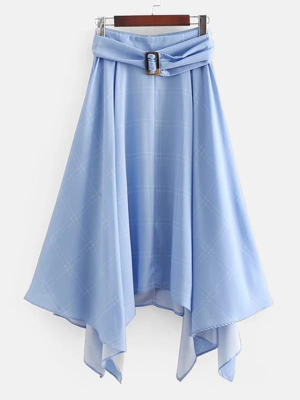 Hanky Hem Belted Skirt asymmetric hem belted plaid skirt