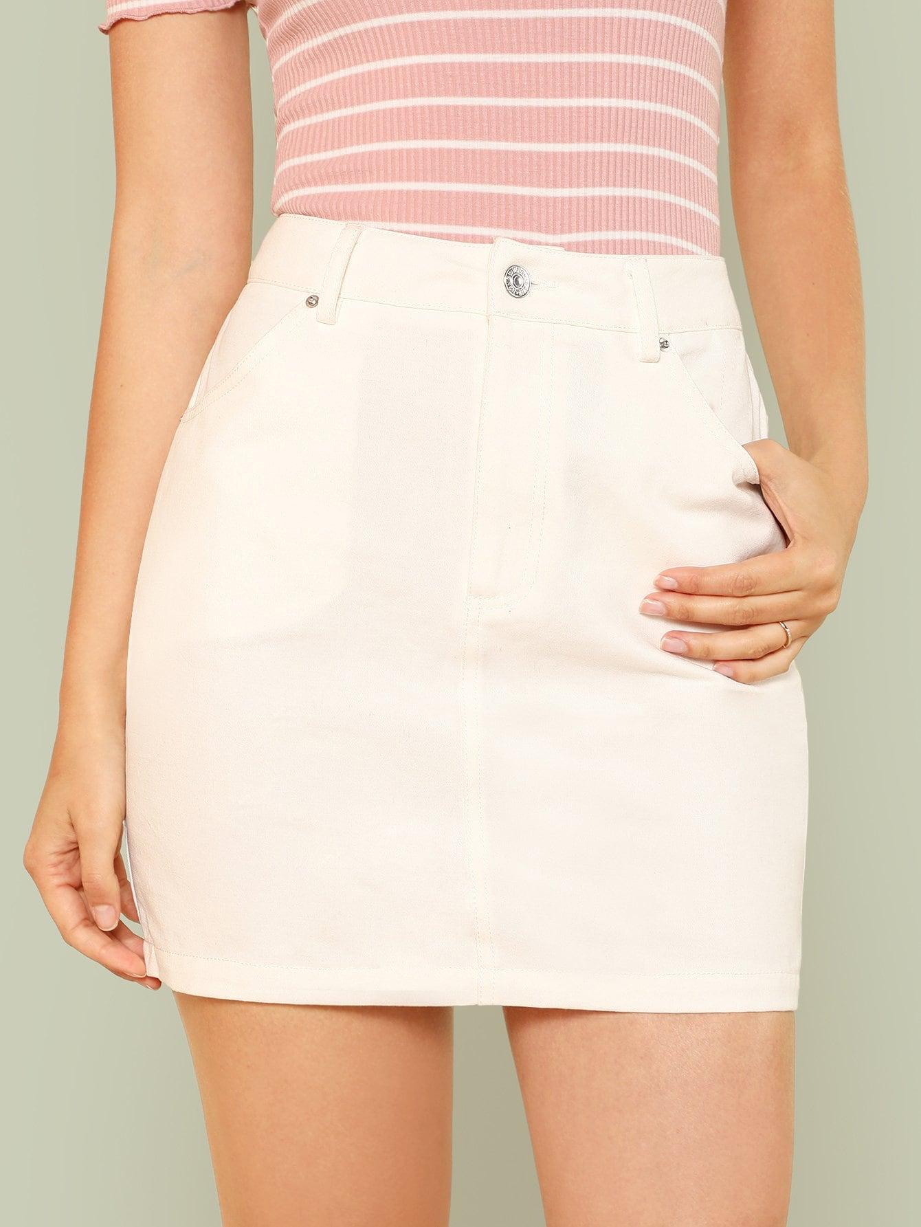 Pocket Patched Solid Skirt high waist pocket patched dot skirt