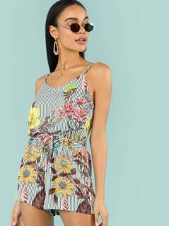 Floral Striped Cami Top & Skirt Co-Ord
