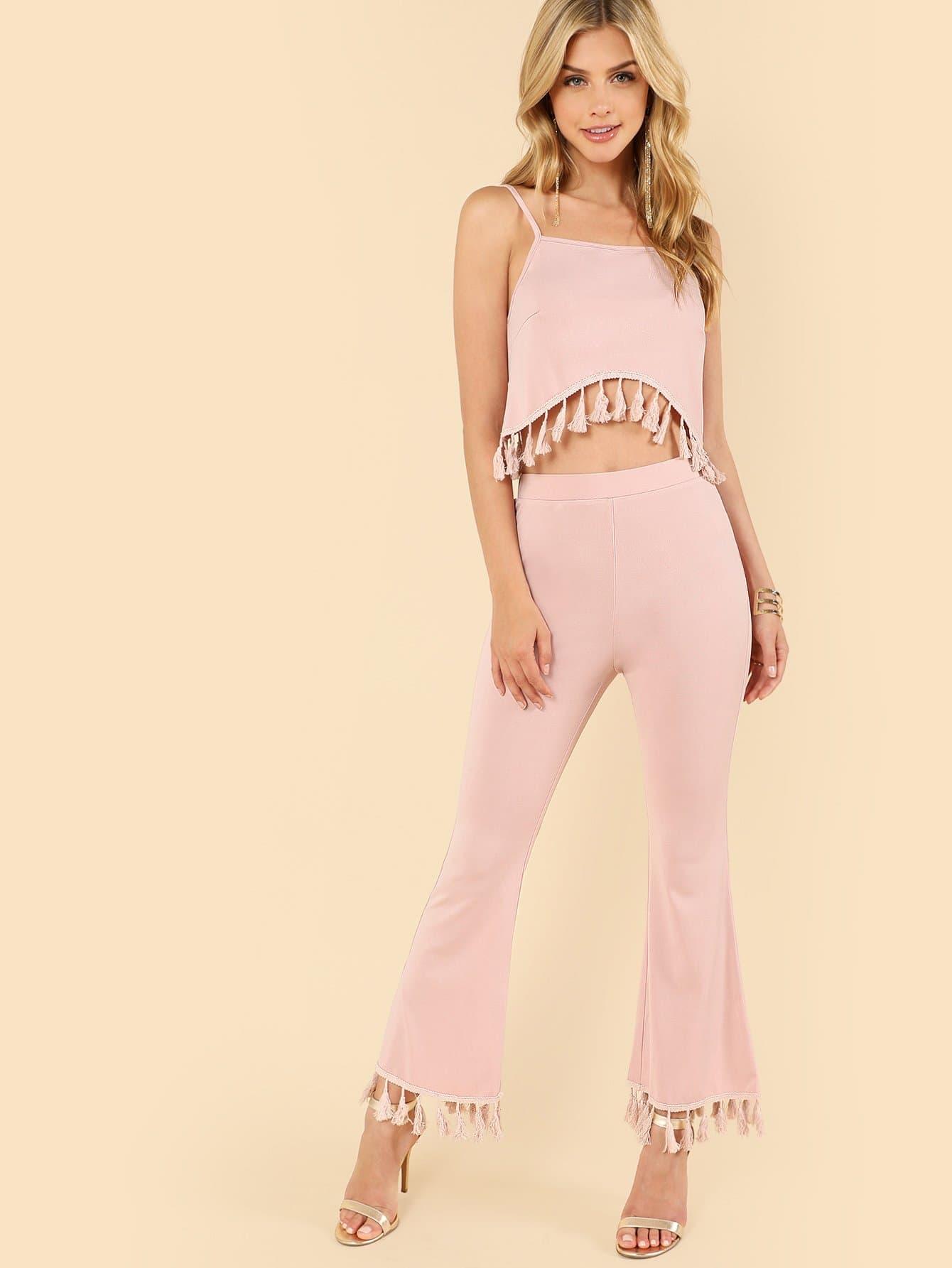 все цены на Tassel Detail Crop Cami Top & Pants Set