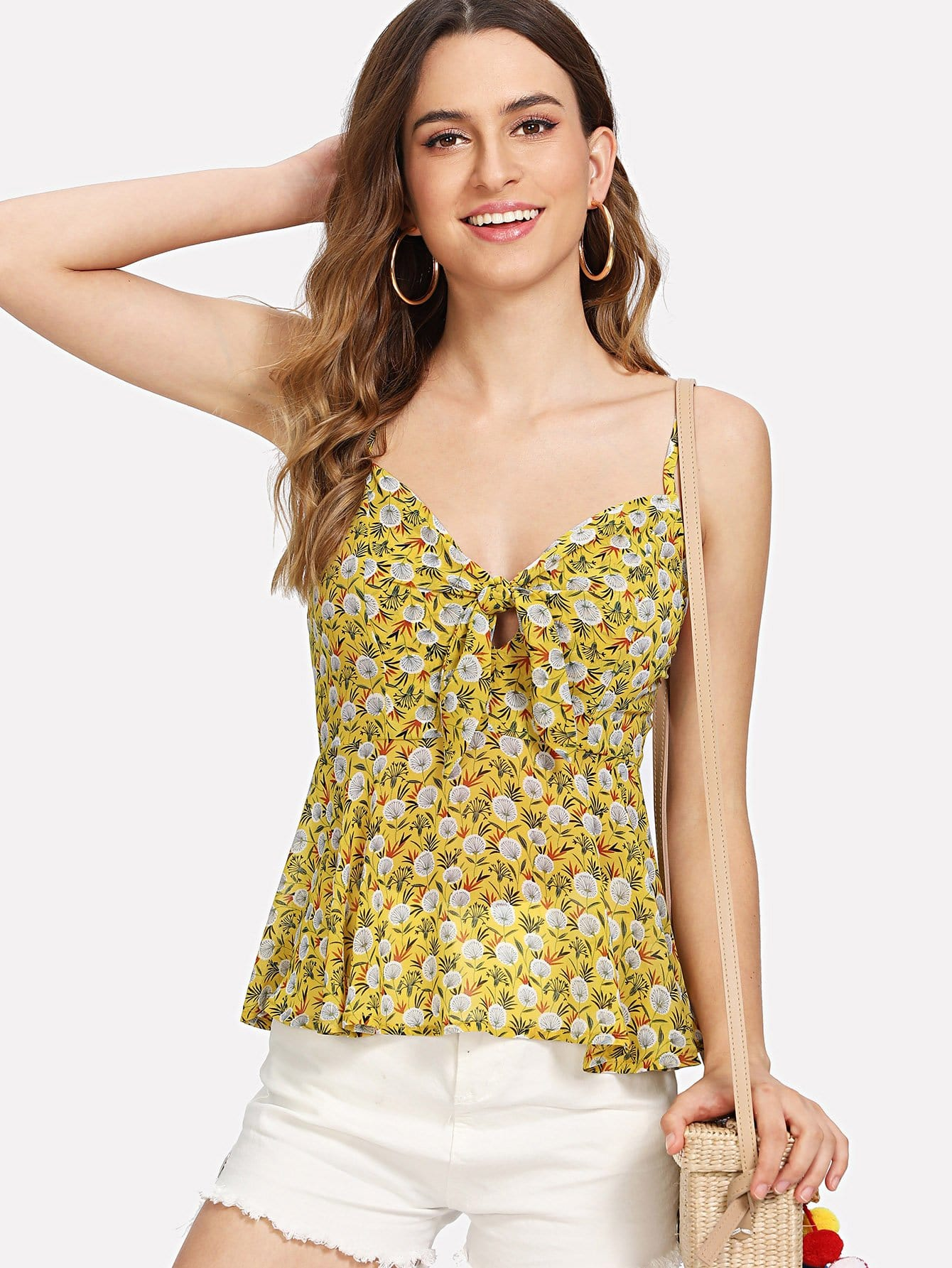 все цены на Knot Front Smocked Back Floral Cami Top