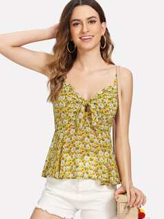 Knot Front Smocked Back Floral Cami Top
