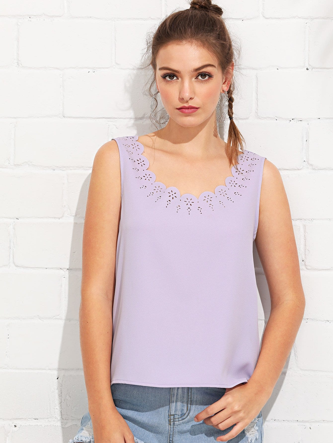 Scallop Laser Cut Tank Top scallop laser cut out textured tank top