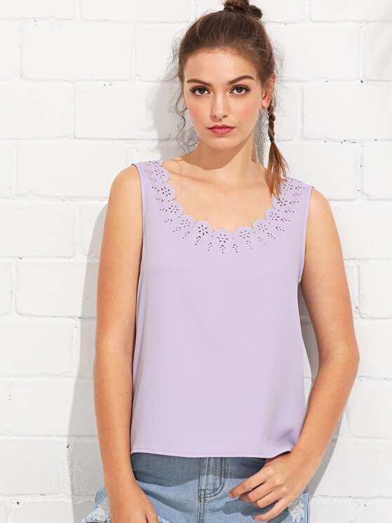 418ec02968a25 MAKEMECHIC Womens Sleeveless Halter Neck Tank Self Tie Scallop Blouse Top  Clothing