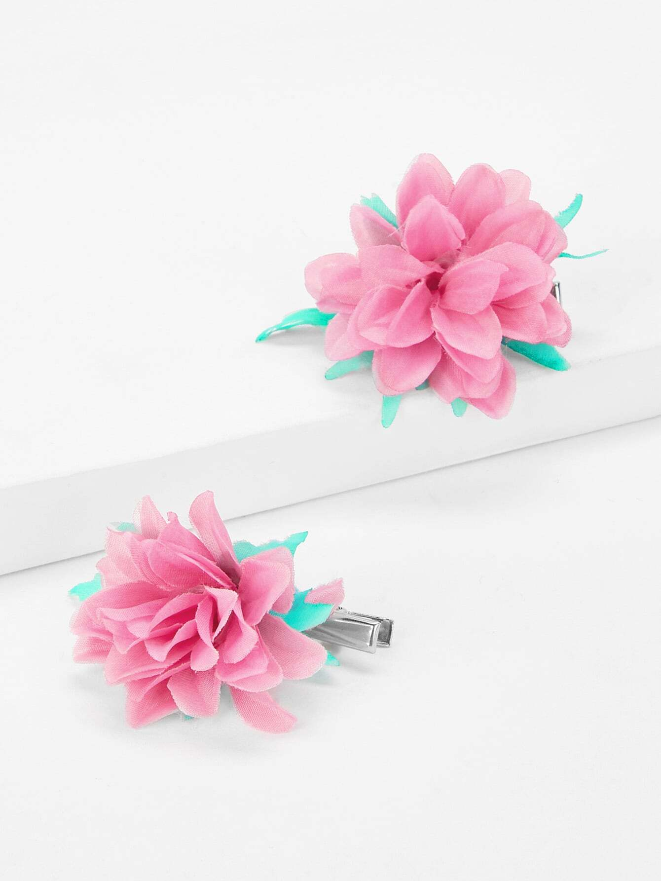 Flower Decorated Kids Hair Clip 1Pair
