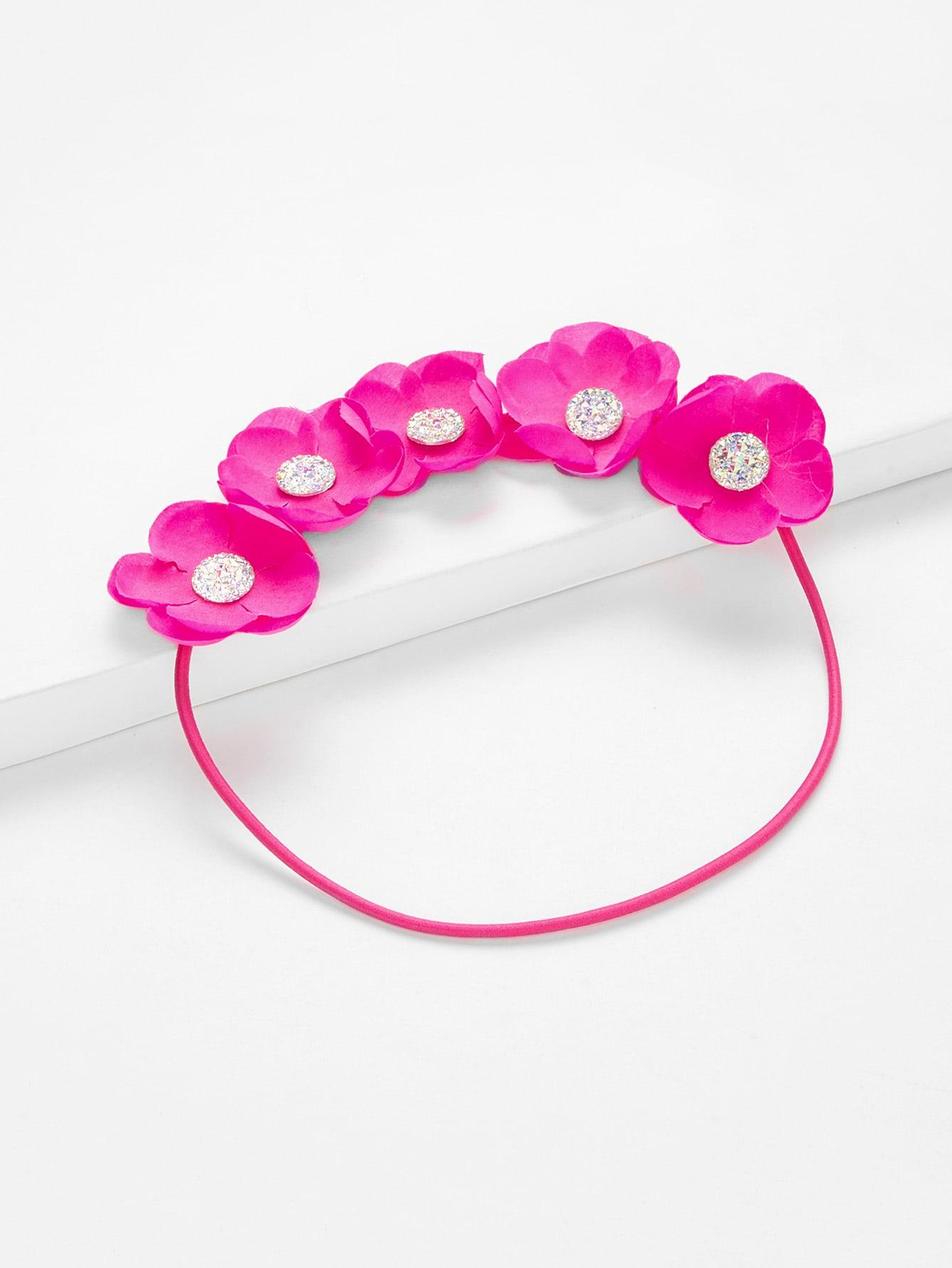Rhinestone Flower Decorated Kids Headband rhinestone decorated kids hair clip 4pcs