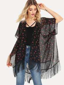 Fringe Hem Fruit Print Kimono