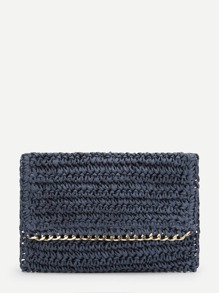 Chain Trim Flap Clutch Bag