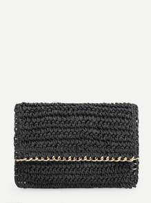 Chain Trim Flap Clutch Bag