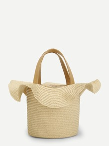 Ruffle Trim Straw Tote Bag