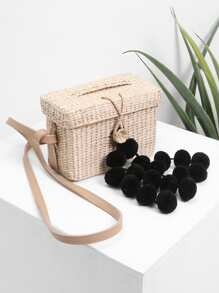 Pom Pom Decorated Straw Crossbody Bag