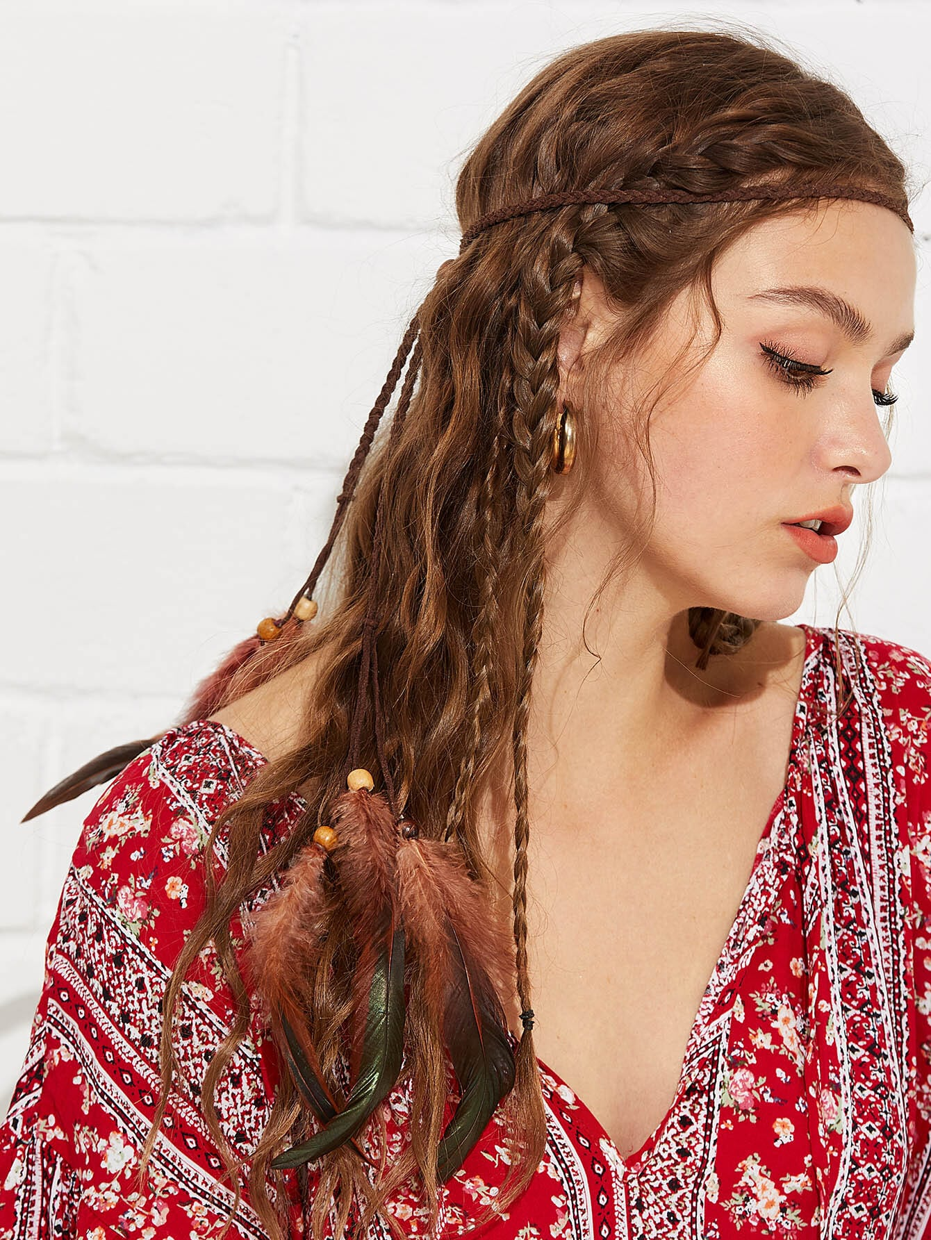 Woven Hair Accessories With Feather цена 2017
