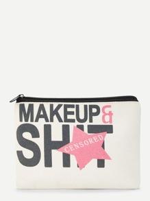 Leaf & Star Print Makeup Bag