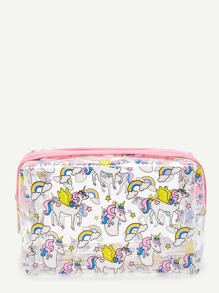 Unicorn Print Clear Makeup Bag