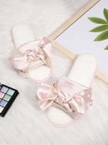 Lace Bow Round Toe Flat Slippers