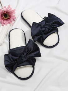 Bow Decorated Satin Flat Slippers