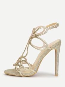 Glitter Design High Heel Sandals