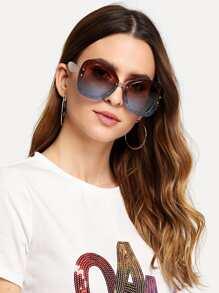 Glitter Frame Mirror Lens Sunglasses