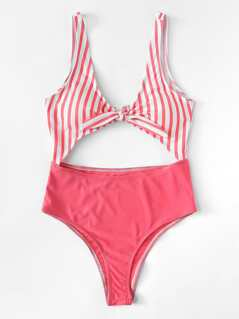 Knot Front Cutout Mixed & Match Swimsuit