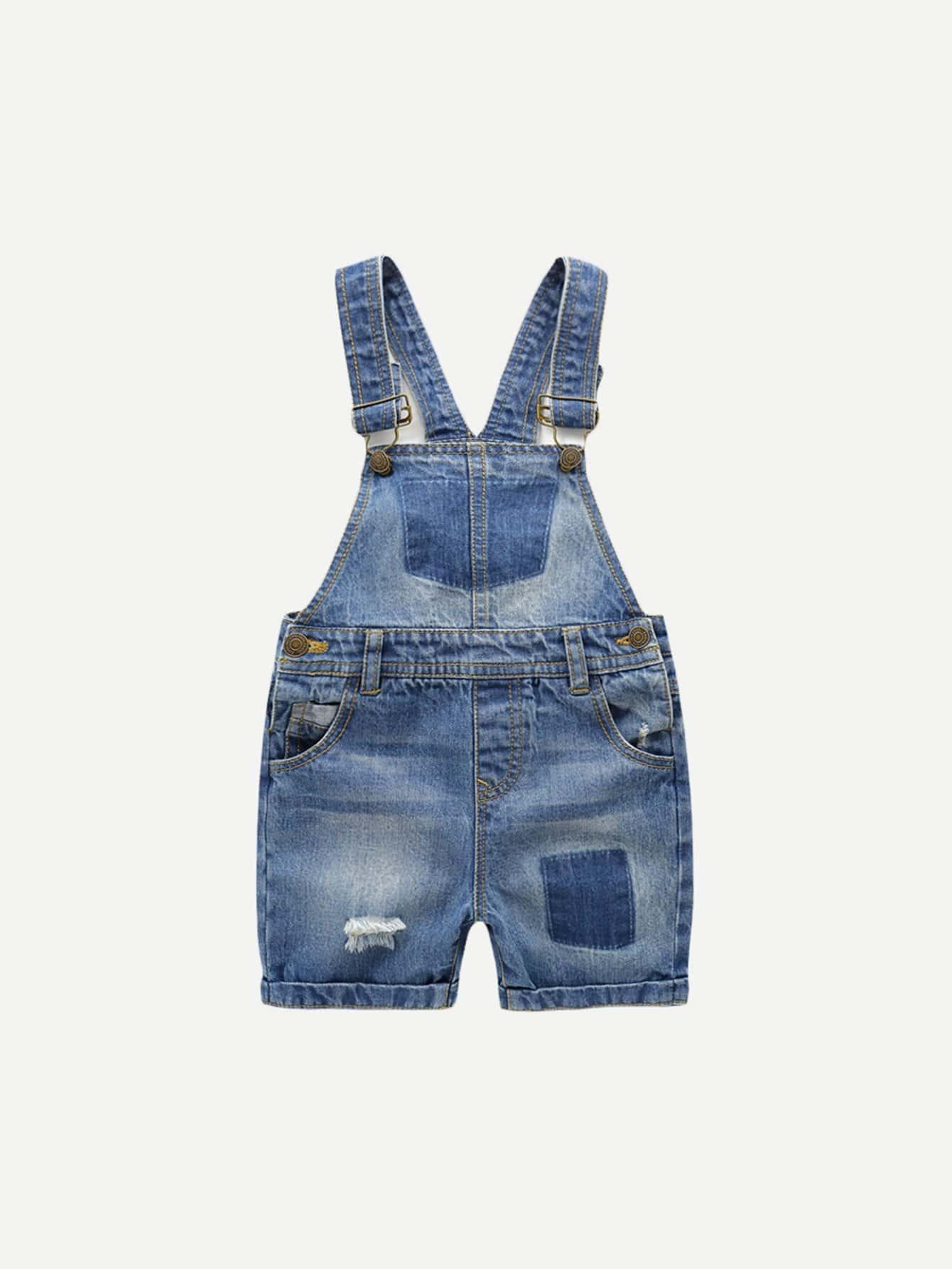 Kids Destroyed Cuffed Denim Overalls 2017 new spring autumn kids baby girls denim jeans pants infant denim girls overalls jumpsuit lovely jeans overalls teenagers